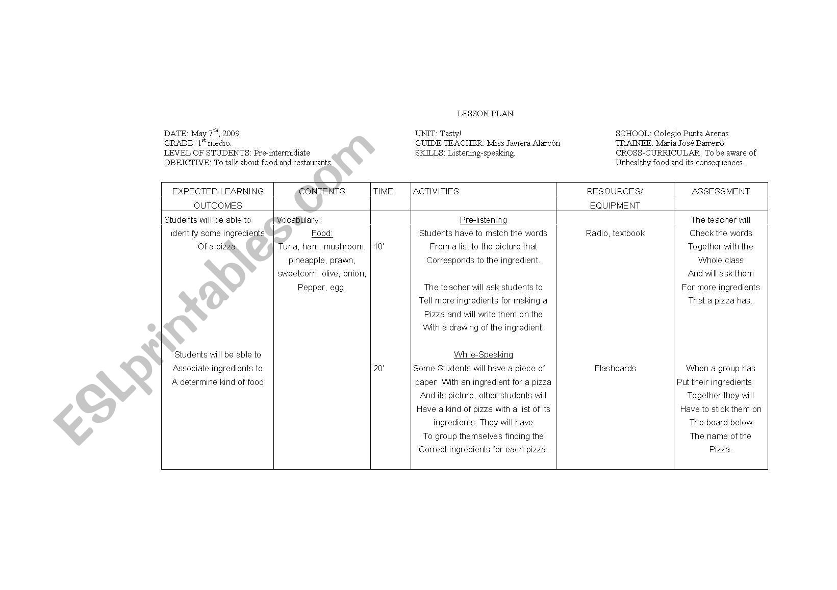 English Worksheets Lesson Plan Let S Make A Pizza