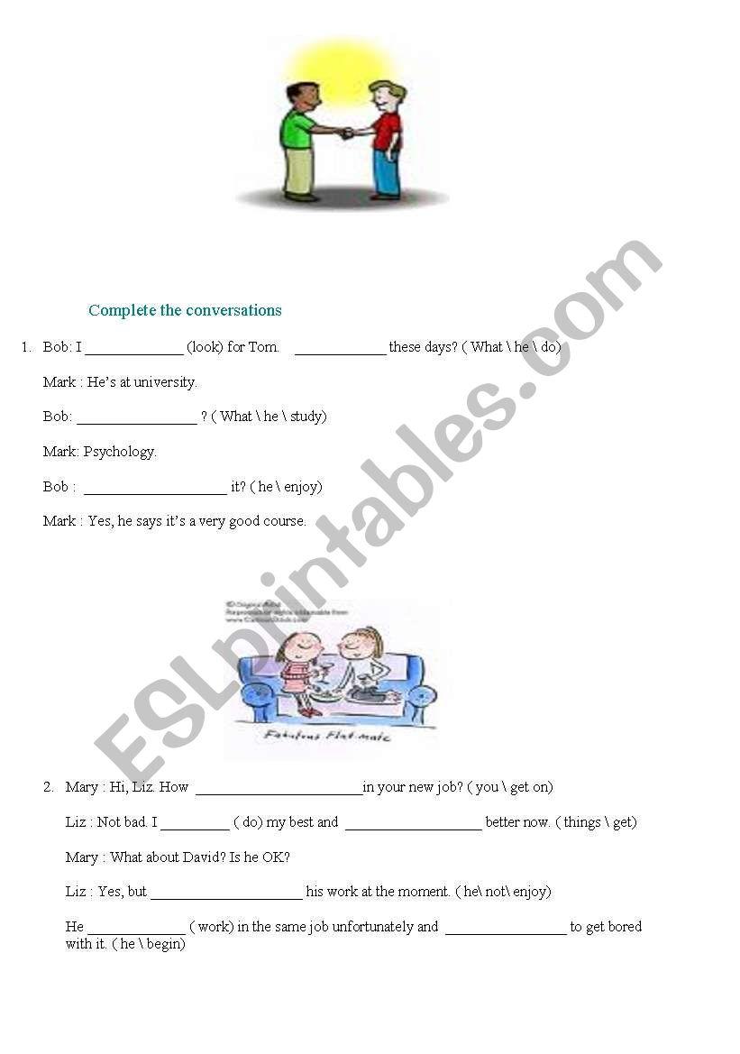 English worksheets: PRESENT CONTINOUS TENSE DIALOGUE.. I