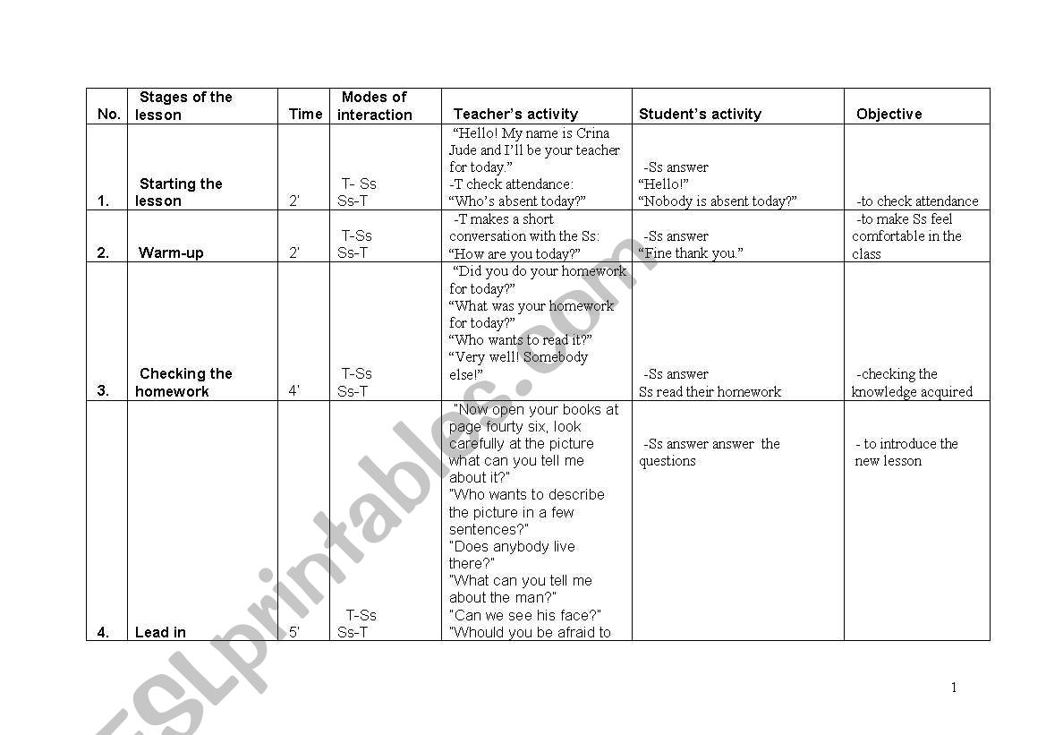 English Worksheets Lesson Plan Reading