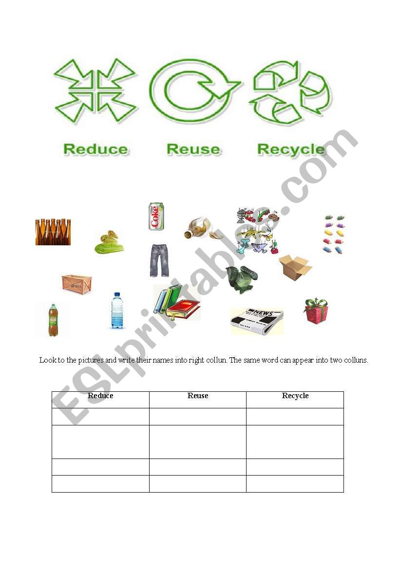 hight resolution of 32 Reduce Reuse Recycle Worksheet - Worksheet Project List