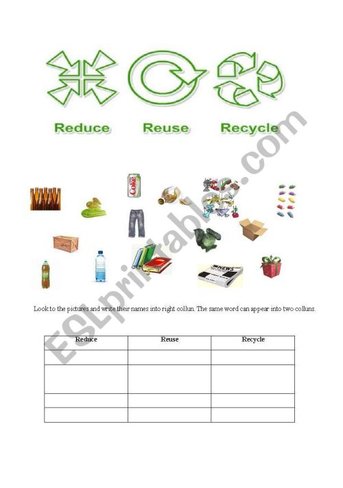 small resolution of 32 Reduce Reuse Recycle Worksheet - Worksheet Project List