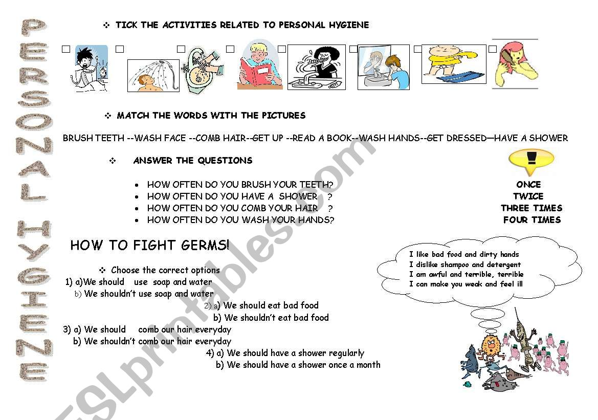 English Worksheets Personal Hygiene
