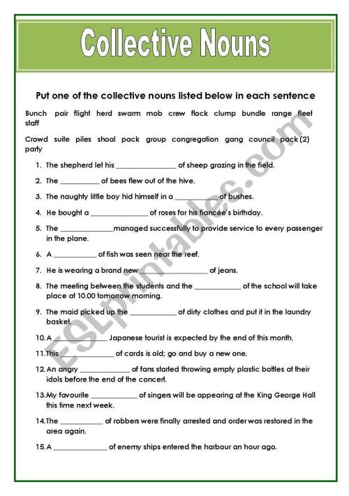 small resolution of Collective Nouns - ESL worksheet by Hannale