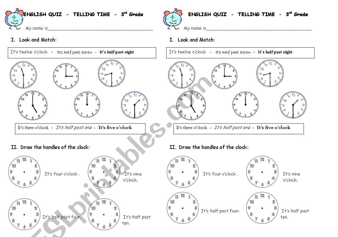 English Worksheets Telling Time Quiz
