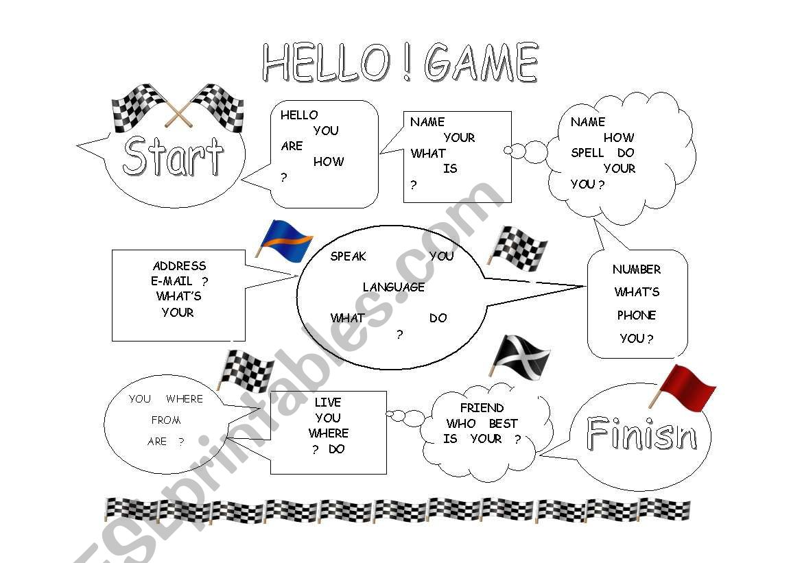 English Worksheets Hello Greetings Game