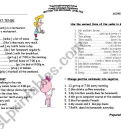 simple present tense worksheet - ESL worksheet by sonidoesl [ 821 x 1169 Pixel ]