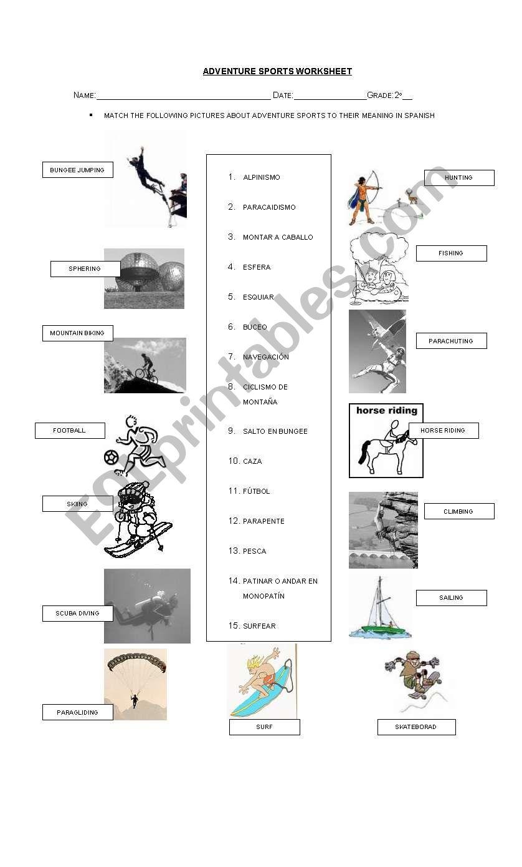 English worksheets: Adventure sports