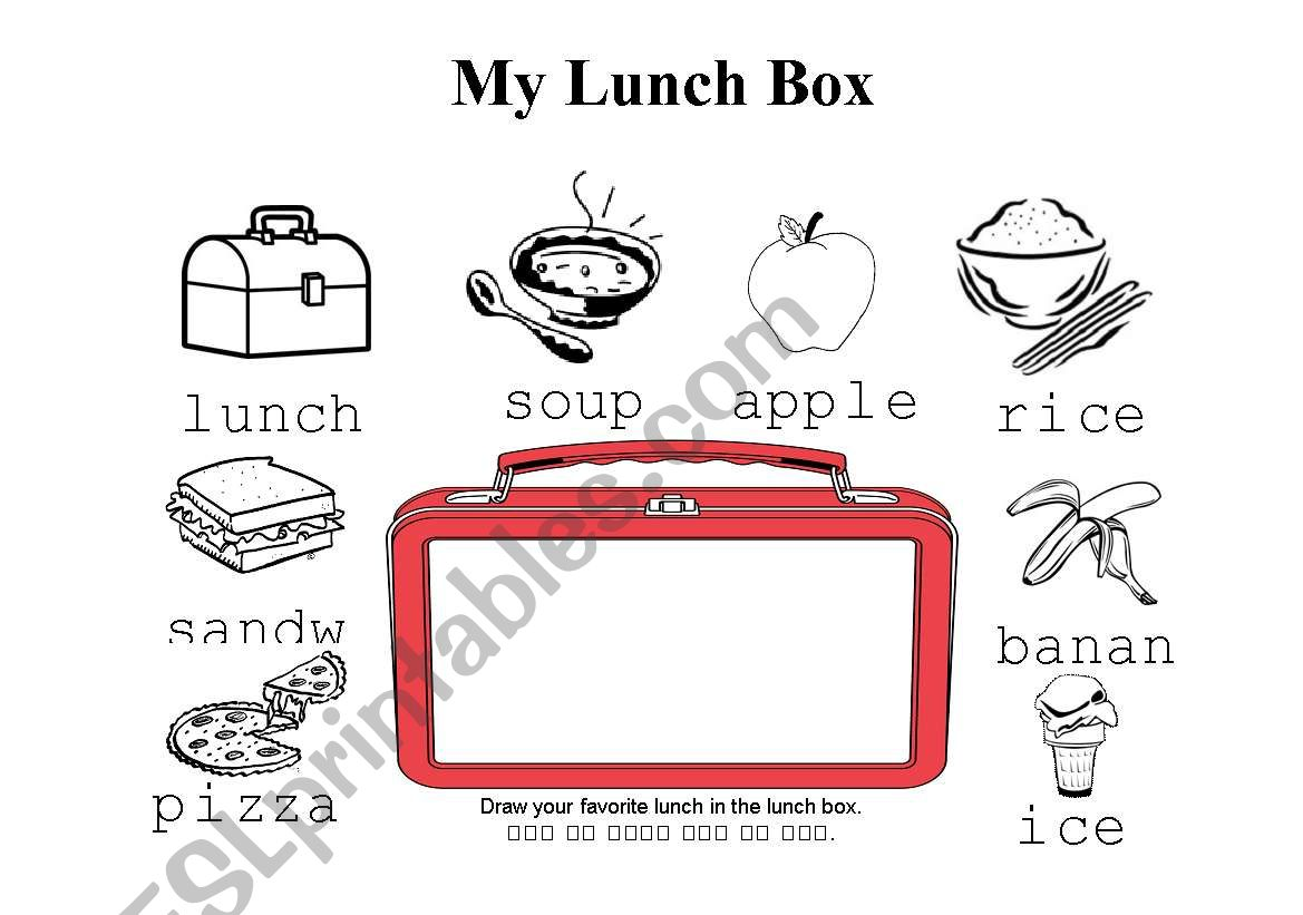 English Worksheets Lunch Box