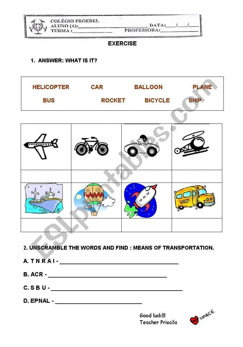 Means of transportation  for kids  ESL worksheet by