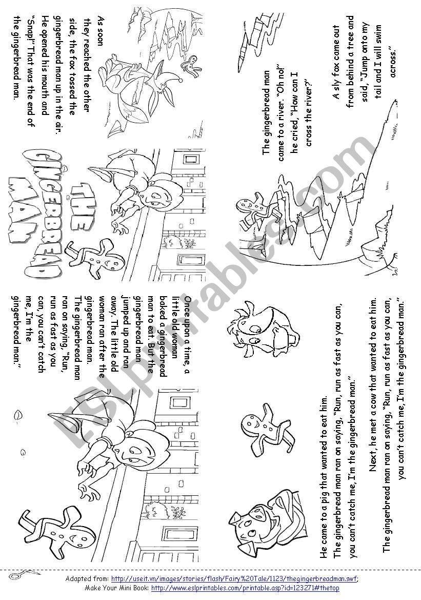English worksheets: The Gingerbread Man (Story Mini Book)