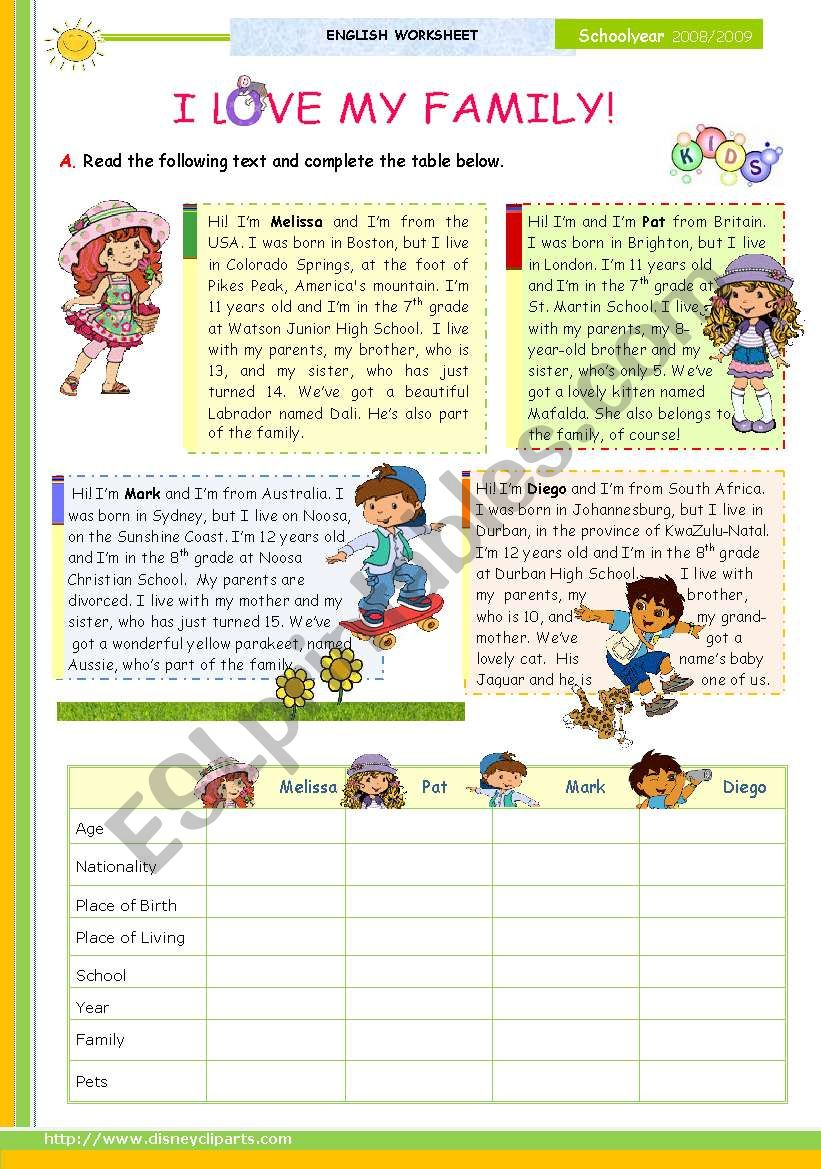 medium resolution of I Love My Family\ - The 1st 45-minute-lesson (of 2) -- Reading leading to  writing for Elementary and Lower intermediate students - ESL worksheet by  mena22