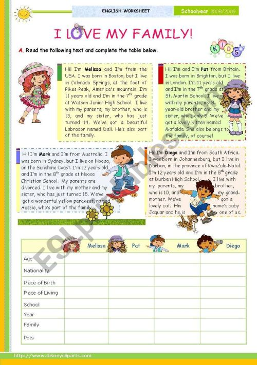 small resolution of I Love My Family\ - The 1st 45-minute-lesson (of 2) -- Reading leading to  writing for Elementary and Lower intermediate students - ESL worksheet by  mena22