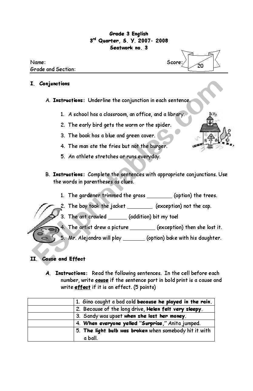 hight resolution of English worksheets: conjunctions