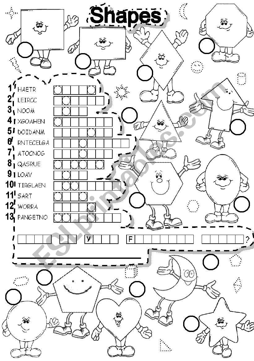 English worksheets: SHAPES PUZZLE and FALLEN PHRASE