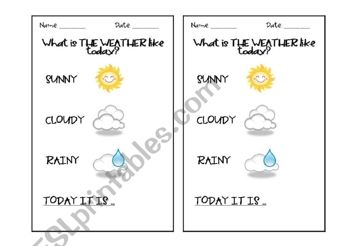 English Worksheets What S The Weather Like