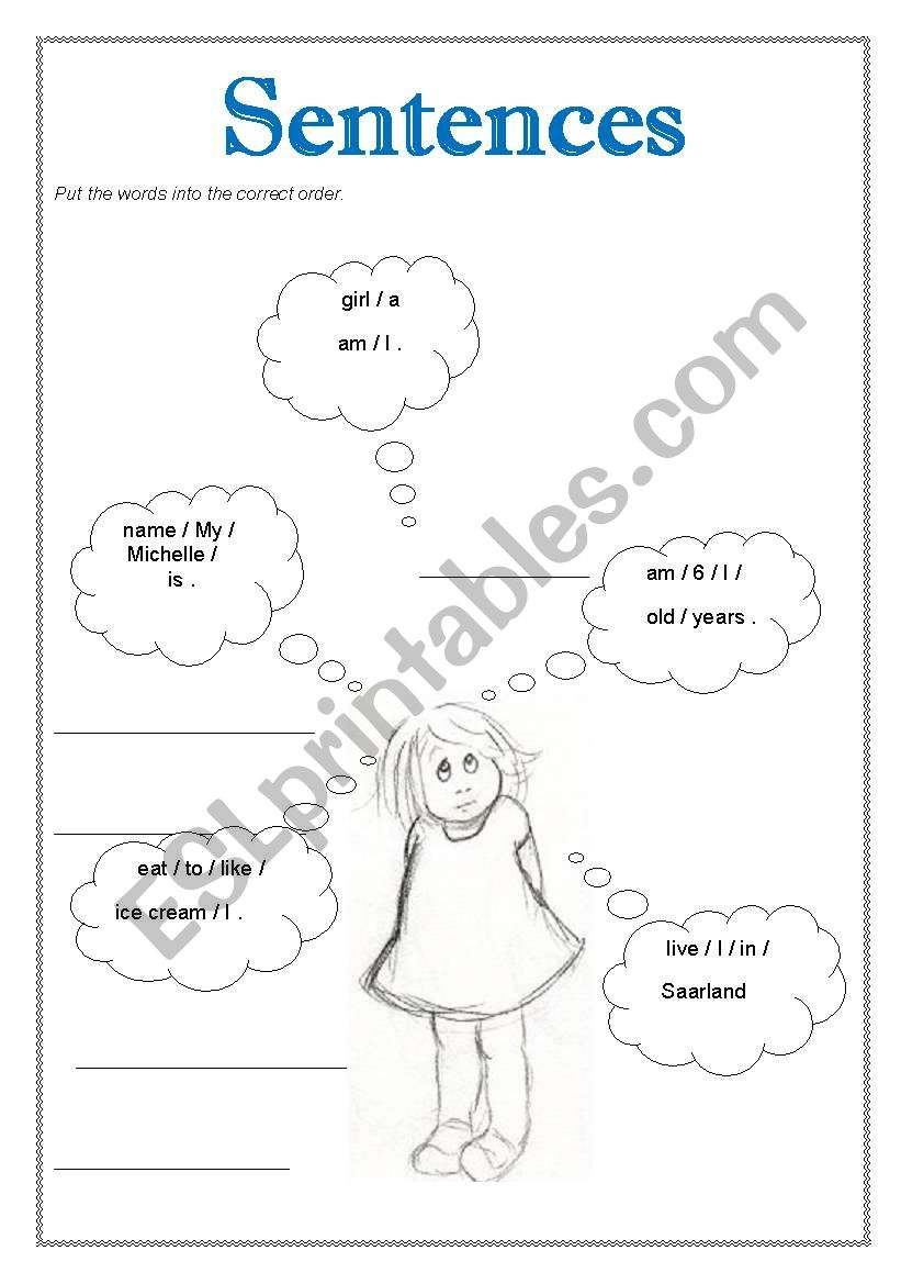 English worksheets: Put the words in the correct order