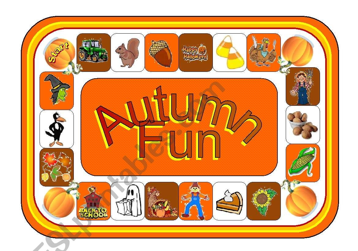 Autumn Fun Game Board With Clip Art Greyscale Version