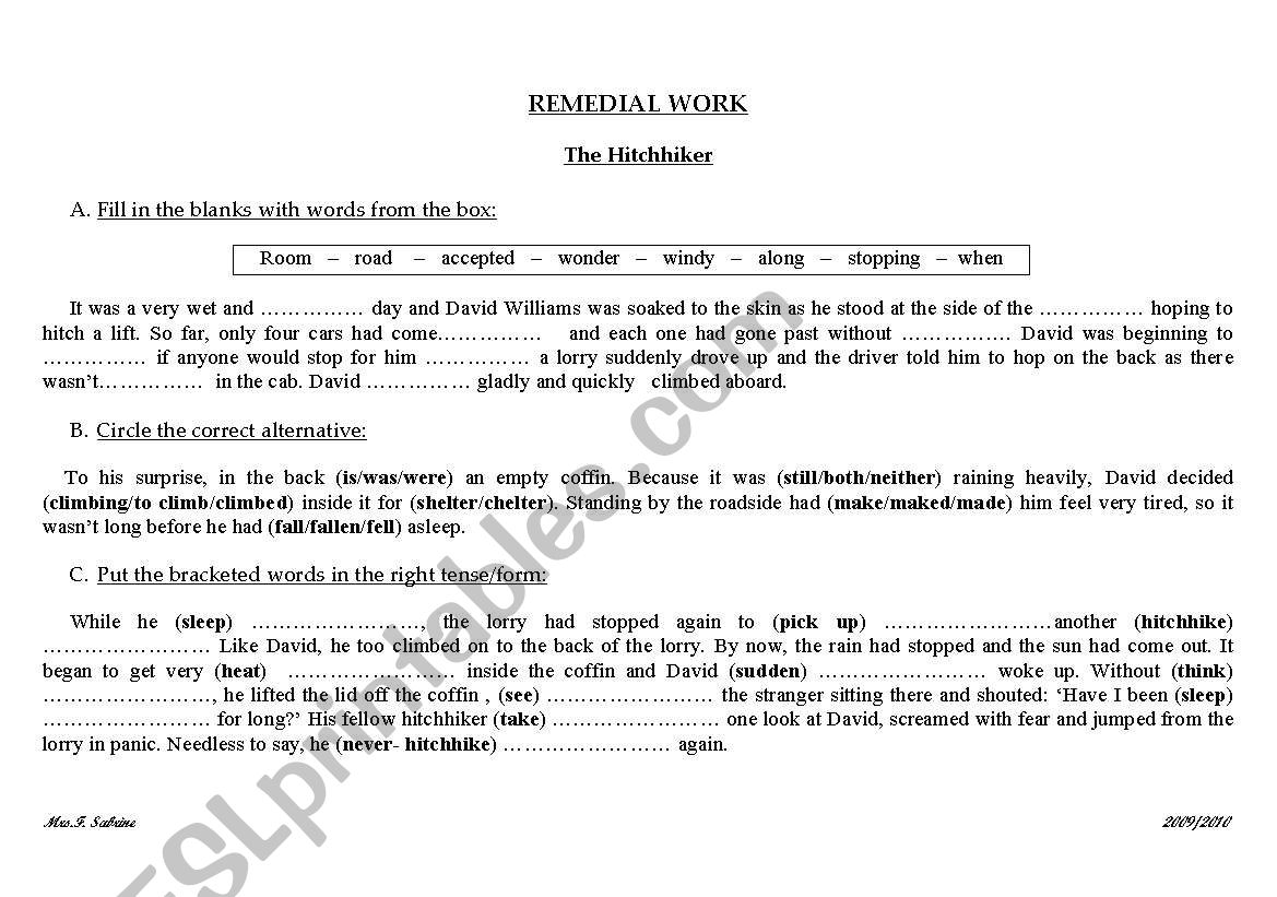English Worksheets Remedial Work