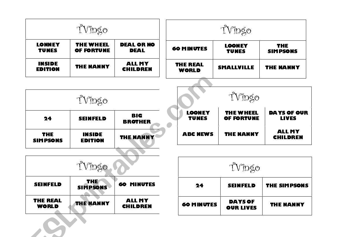 Tvingo Tv Shows Bingo