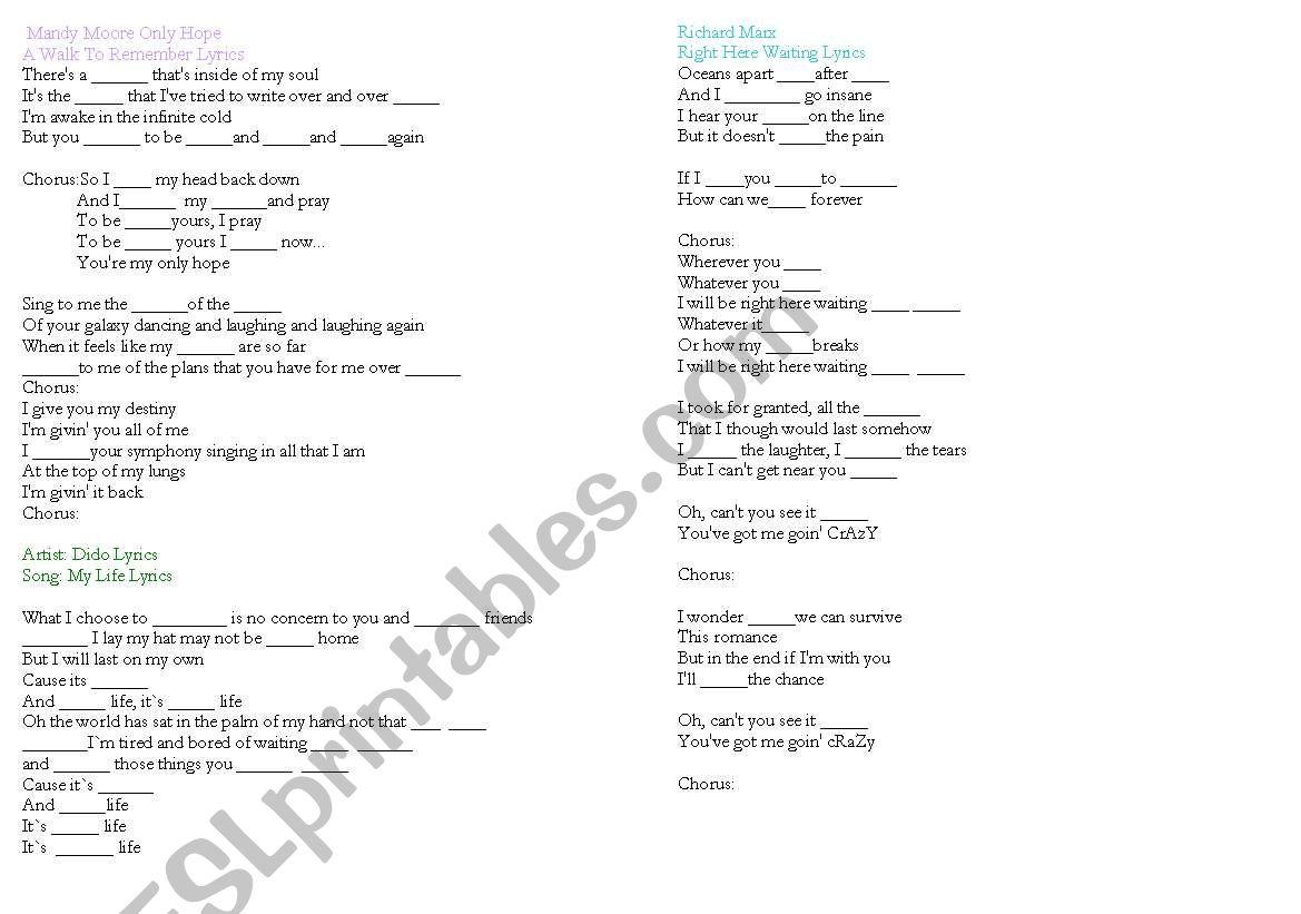 English Worksheets Song Lyrics