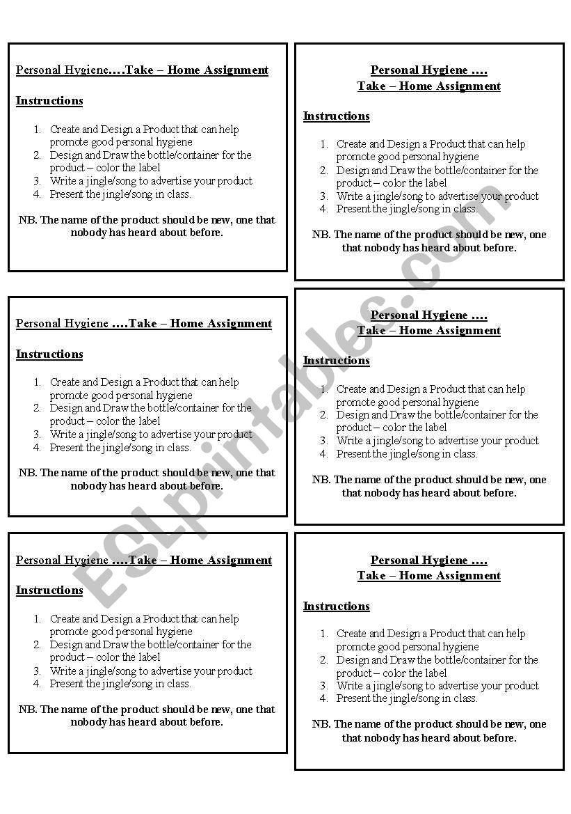 hight resolution of Personal Hygiene - ESL worksheet by roxyboo