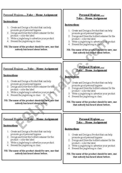 small resolution of Personal Hygiene - ESL worksheet by roxyboo
