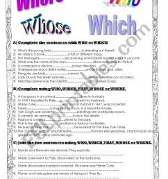 Relative pronouns and adverbs - ESL worksheet by agusjavier [ 1169 x 821 Pixel ]