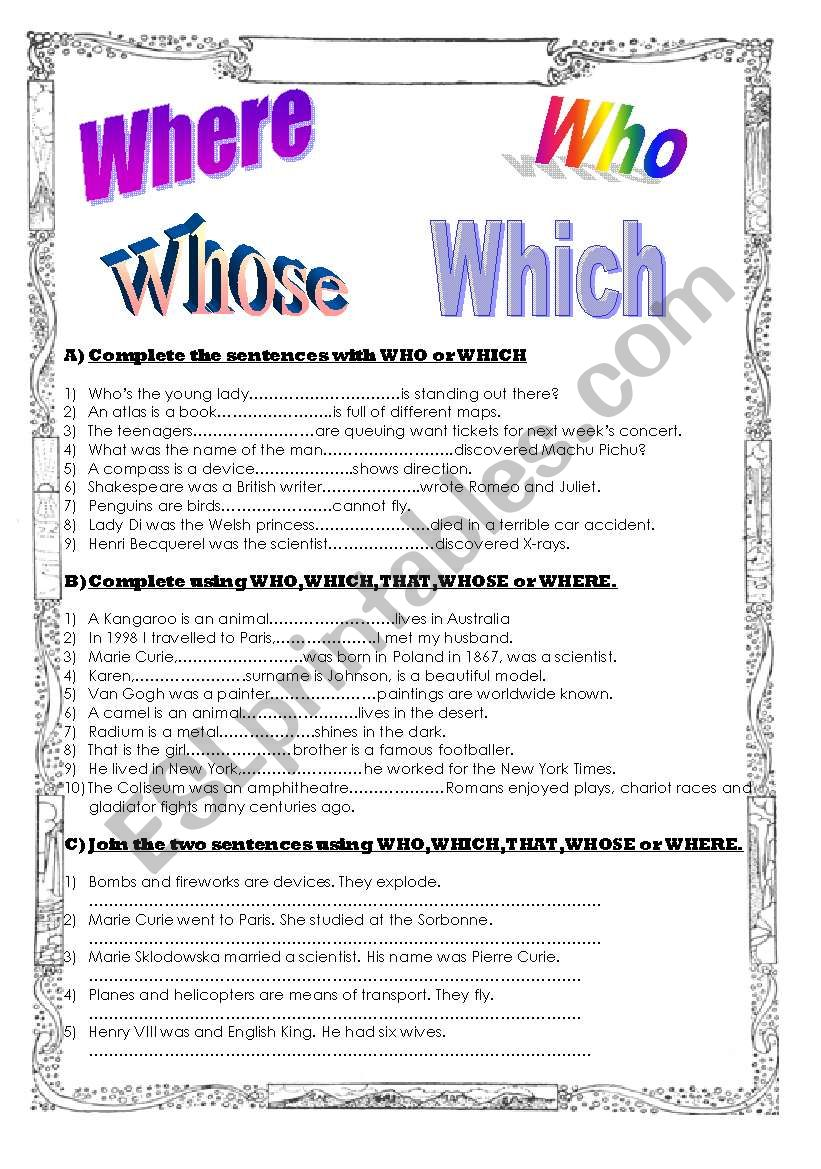 medium resolution of Relative pronouns and adverbs - ESL worksheet by agusjavier