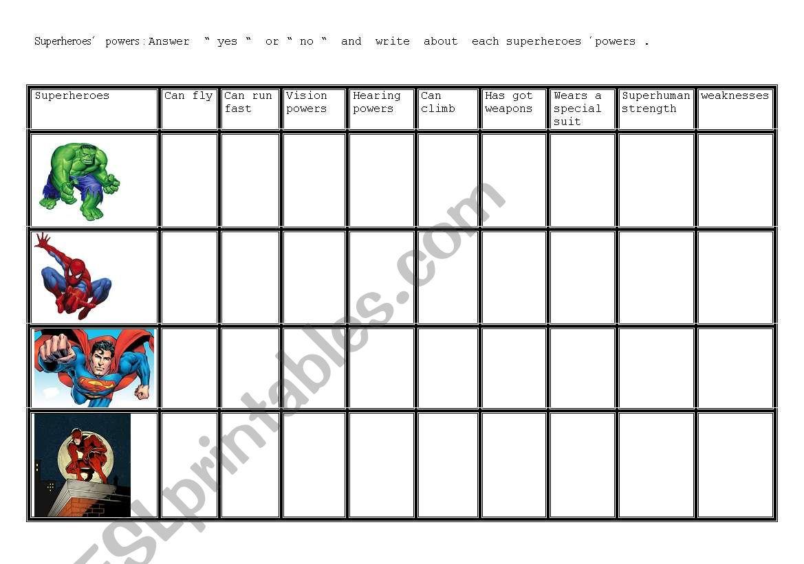 English Worksheets Superheroes 2