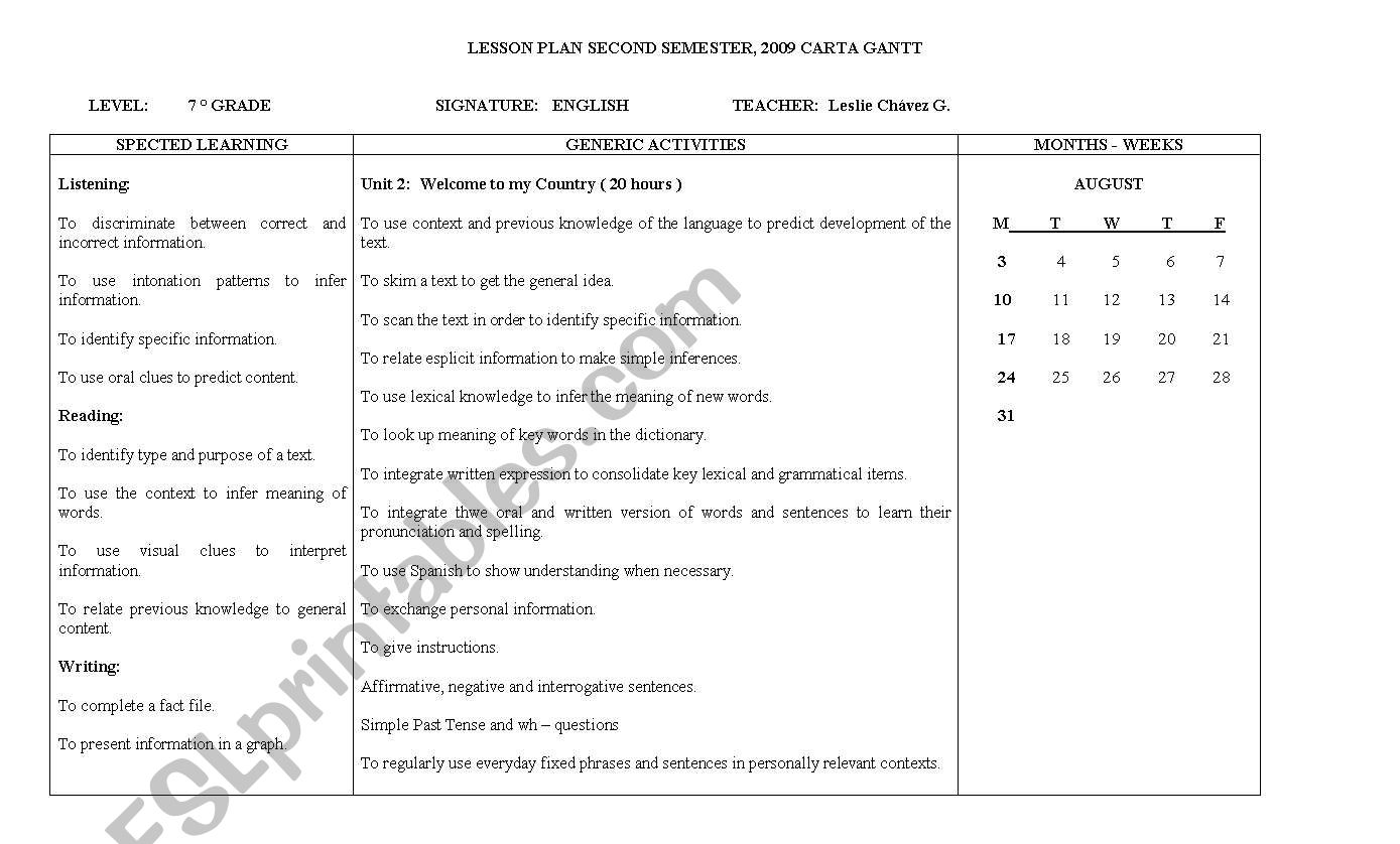 English Worksheets Lesson Plans Second Semester