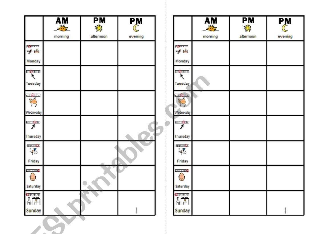 English Worksheets Schedule Chart