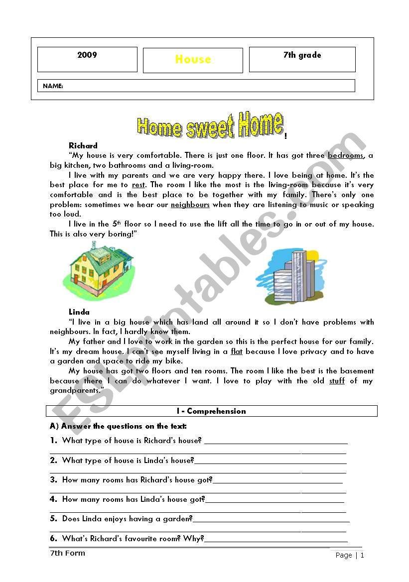 hight resolution of Home sweet home - ESL worksheet by ladybug
