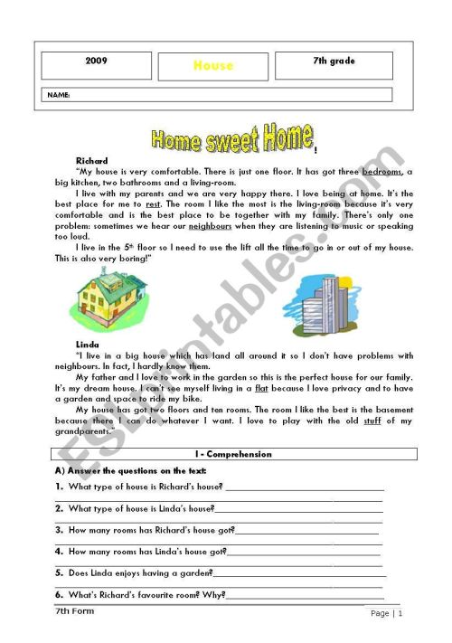 small resolution of Home sweet home - ESL worksheet by ladybug