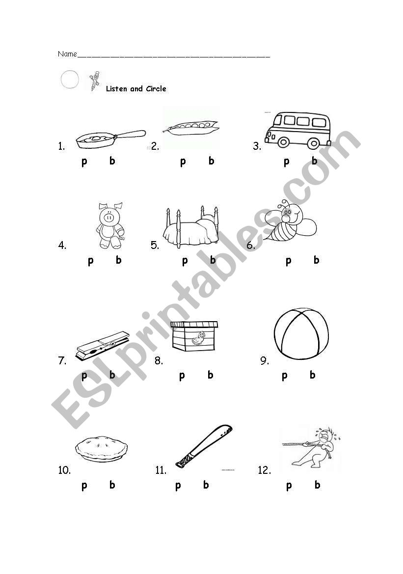 English worksheets: Bilabial Sounds /p/ and /b/