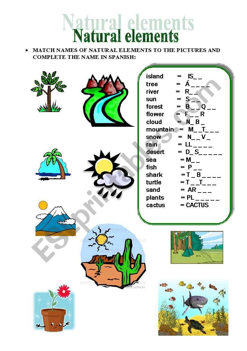 NATURAL ELEMENTS MATCHING & TRANSLATION - ESL worksheet by Mayca80