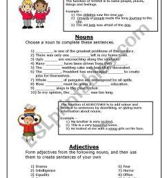 nouns and adjectives - ESL worksheet by JessSA [ 1169 x 821 Pixel ]