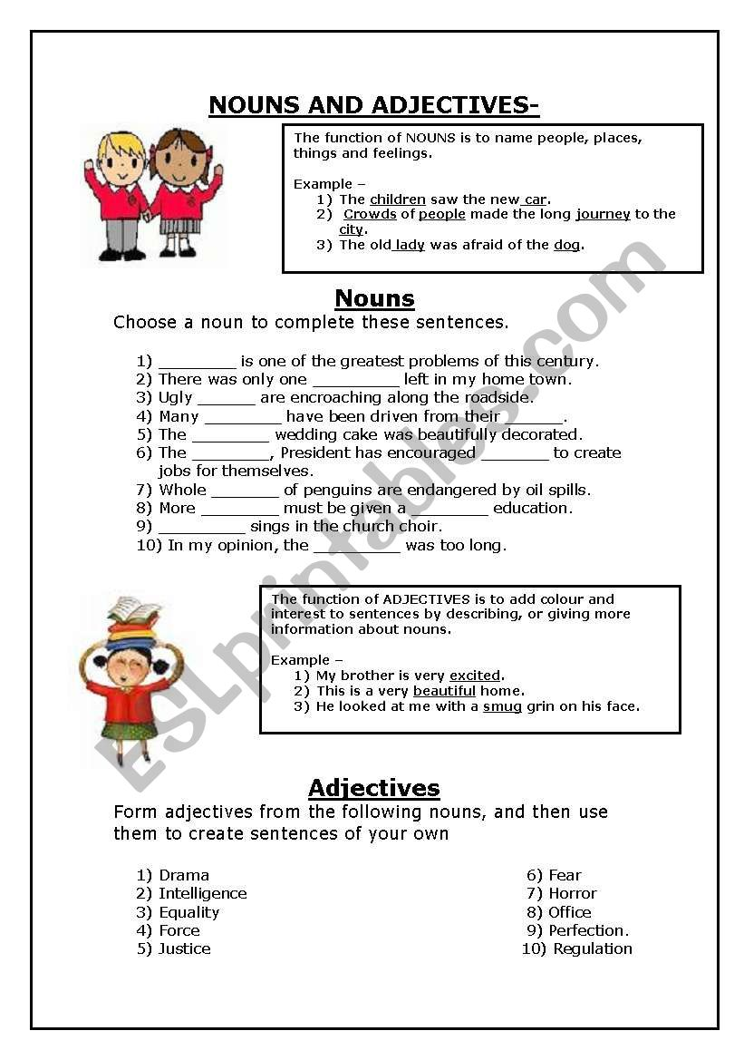 medium resolution of nouns and adjectives - ESL worksheet by JessSA
