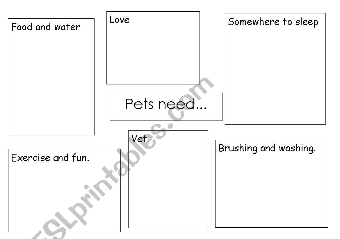 English Worksheets Pets Need