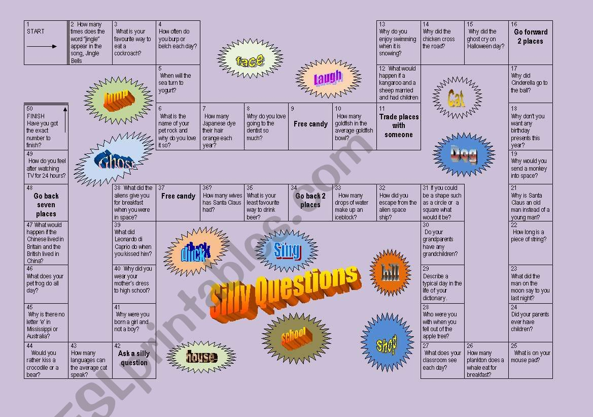 Silly Questions Board Game Editable