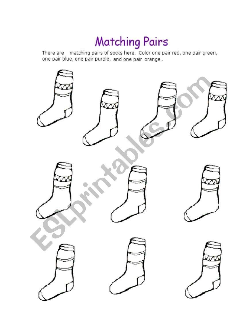 English worksheets: matching pairs