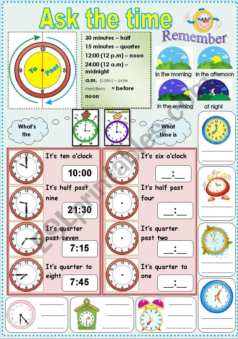 medium resolution of Ask the time - ESL worksheet by solli