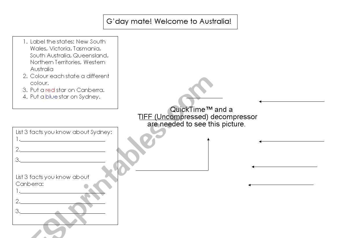 English Worksheets Basic Australian Geography