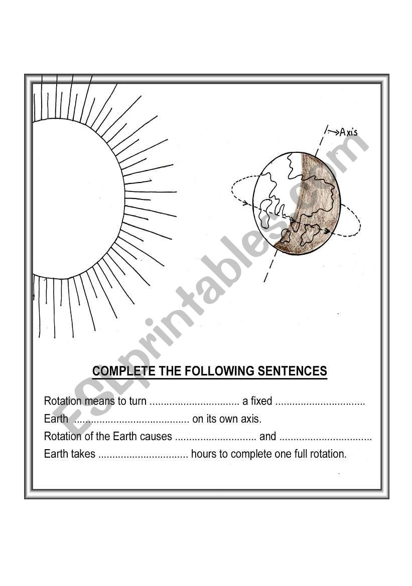 English worksheets: ROTATION OF EARTH