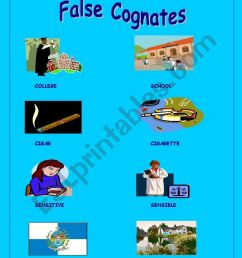 English worksheets: False cognates [ 1169 x 821 Pixel ]