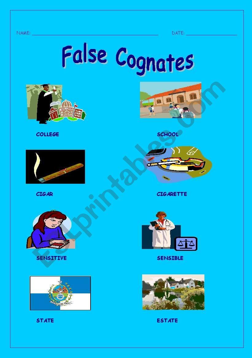 medium resolution of English worksheets: False cognates
