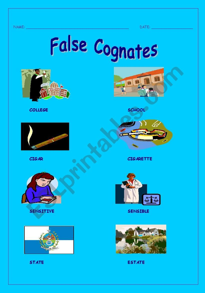 hight resolution of English worksheets: False cognates
