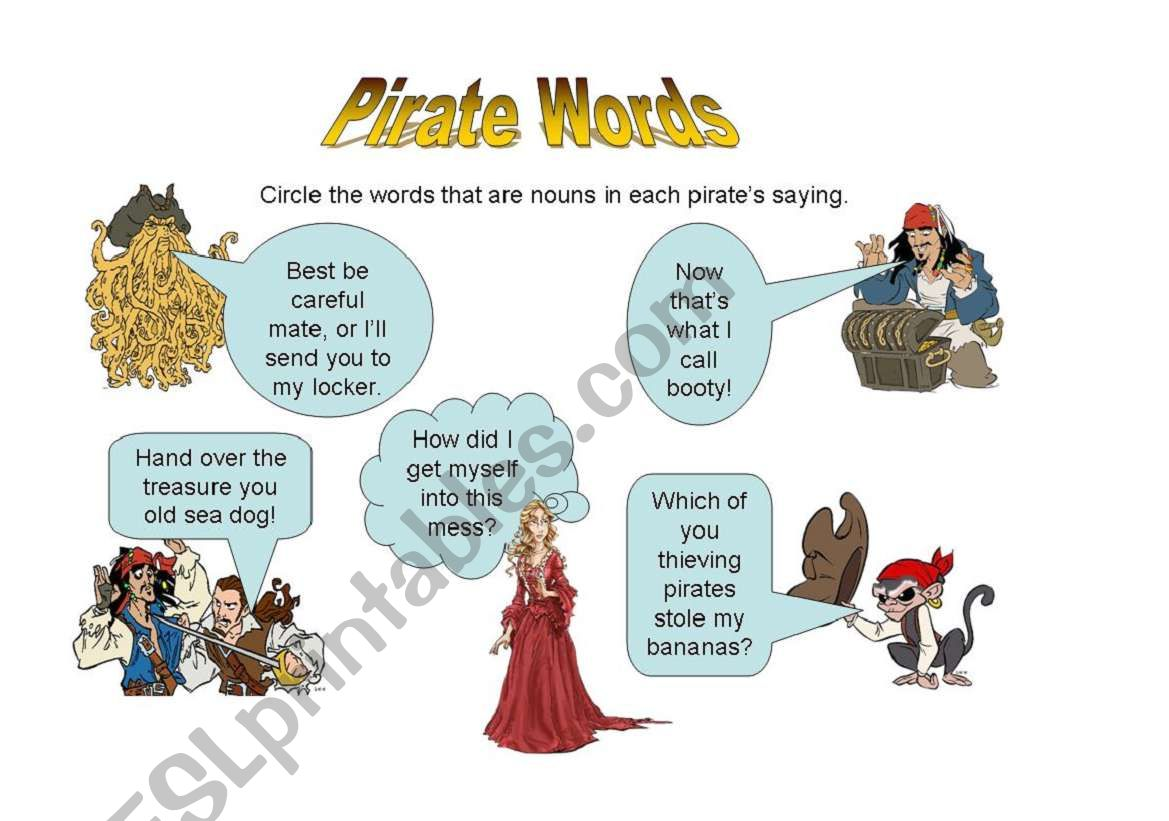 Pirate Of The Caribbean Noun Sheet
