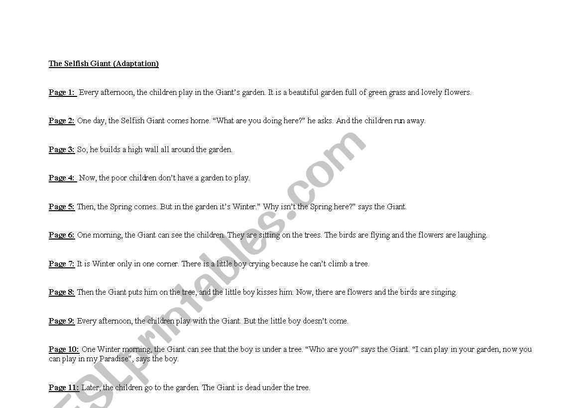 English Worksheets Story The Selfish Giant By Oscar Wilde