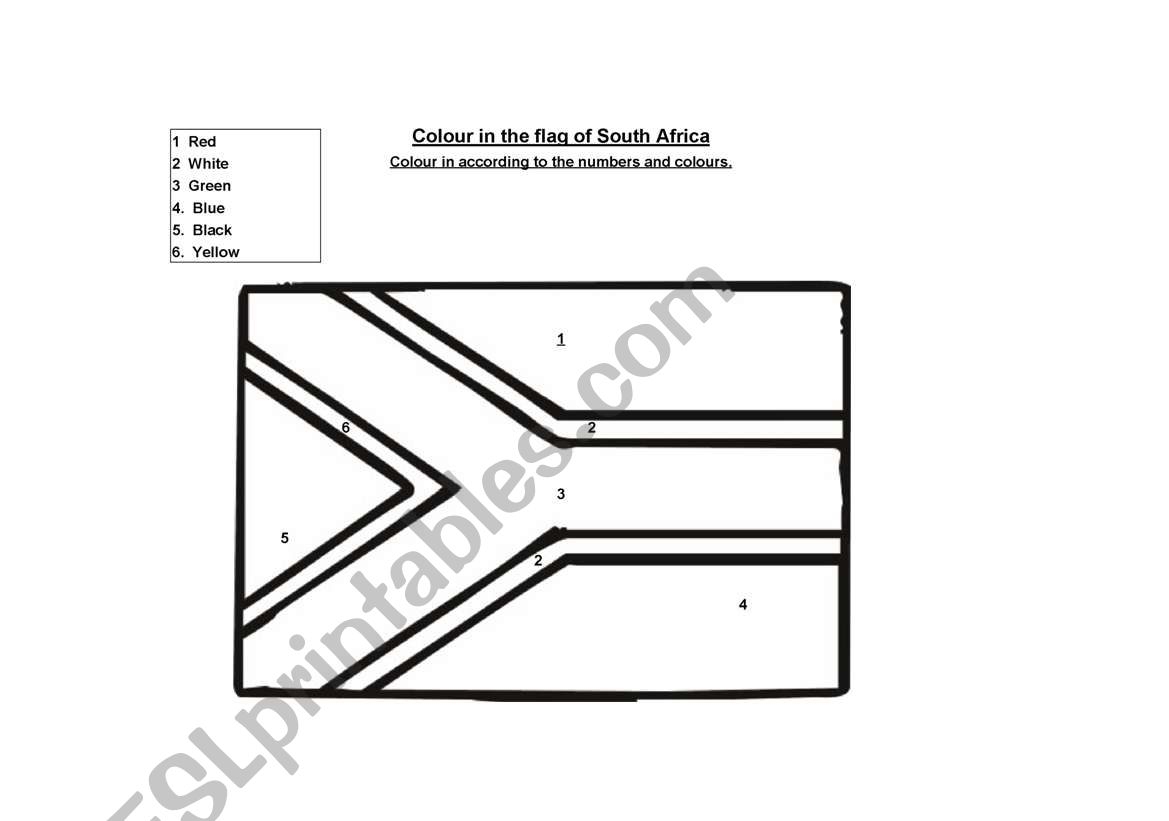 English Worksheets Flag Of South Africa