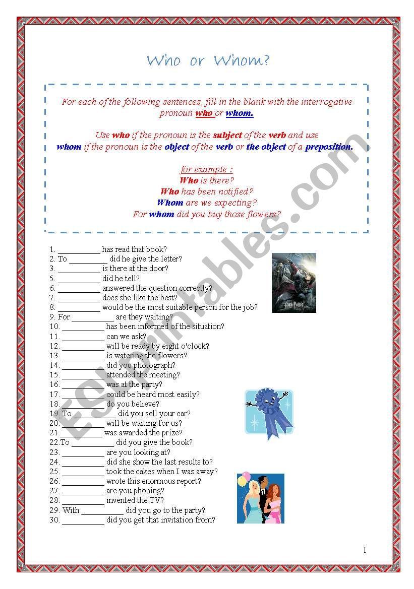 medium resolution of interrogative pronouns - ESL worksheet by Borisje